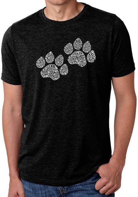 Mens Premium Blend Word Art Graphic T-Shirt - Woof Paw Prints