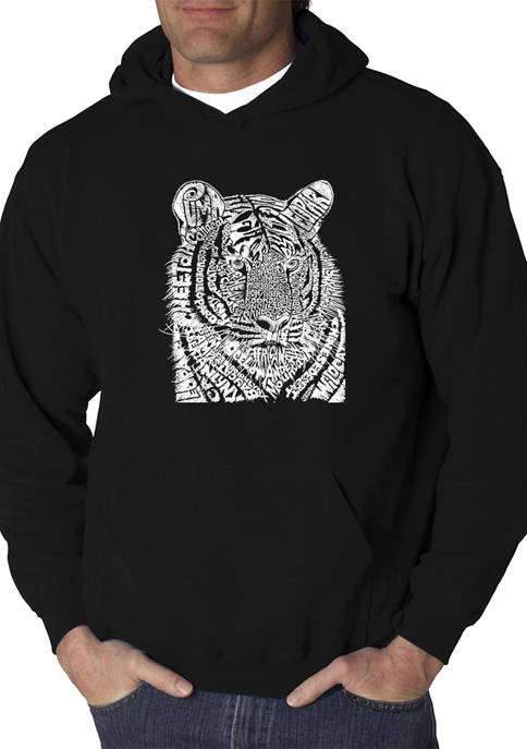 Mens Word Art Graphic Hooded Sweatshirt - Big Cats