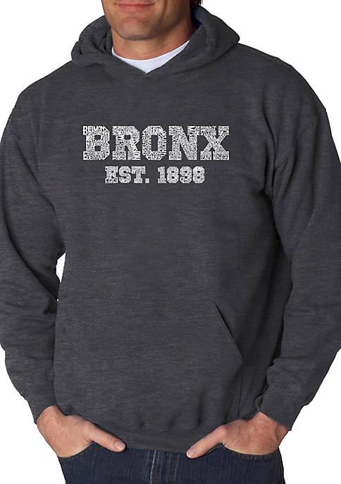 Word Art Hooded Sweatshirt - Popular Neighborhoods in Bronx NY