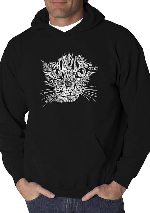 Word Art Graphic Hooded Sweatshirt - Cat Face