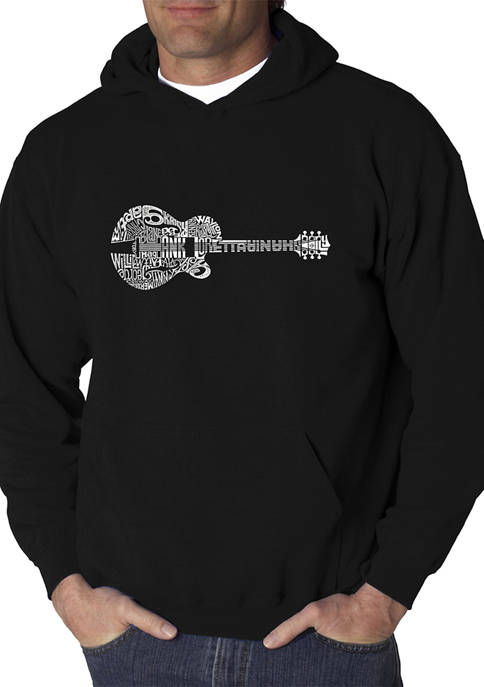 Mens Word Art Graphic Hooded Sweatshirt - Country Guitar