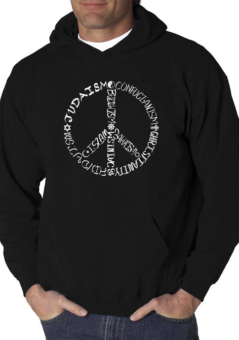 Mens Word Art Graphic Hooded Sweatshirt - Different Faiths Peace Sign