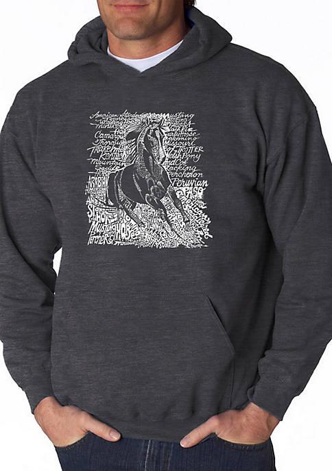Word Art Hooded Sweatshirt - Popular Horse Breeds