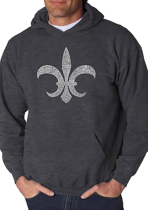 Word Art Hooded Sweatshirt - Fleur De Lis - Popular Louisiana Cities