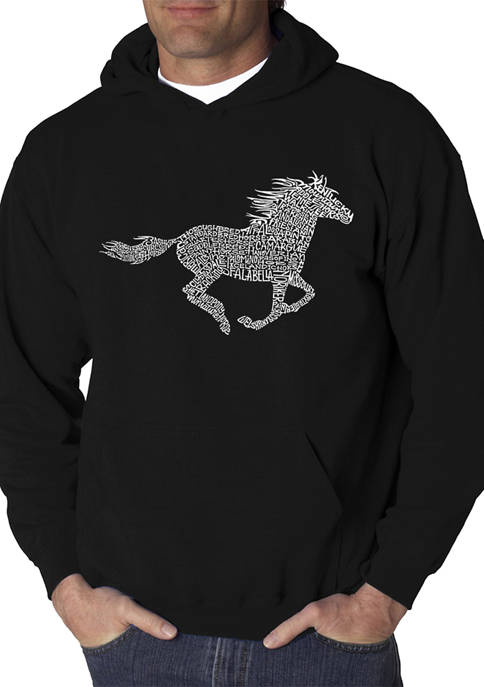 Mens Word Art Hooded Graphic Sweatshirt - Horse Breeds