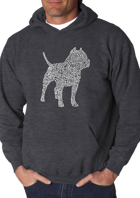 Mens Word Art Hooded Graphic Sweatshirt - Pitbull