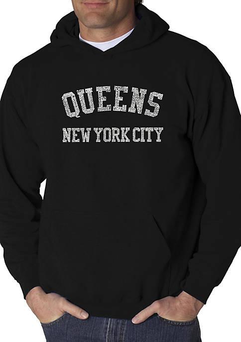 Word Art Hooded Sweatshirt - Popular Neighborhoods in Queens, NY