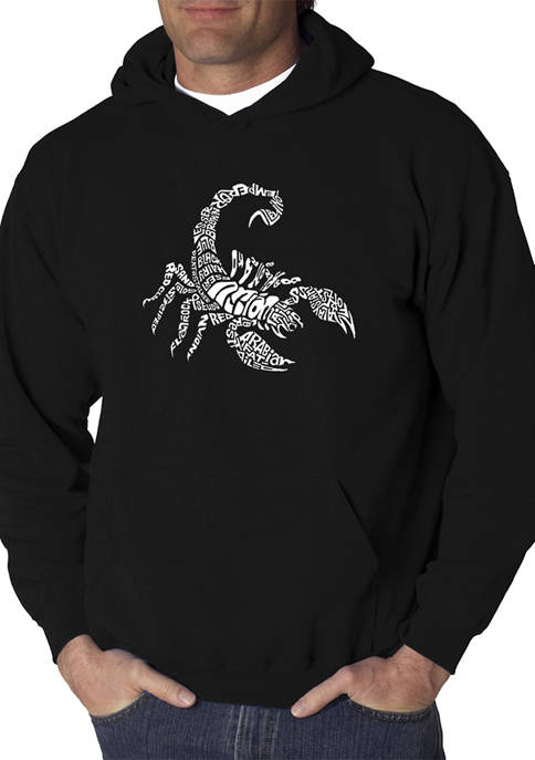 Mens Word Art Hooded Graphic Sweatshirt - Types of Scorpions