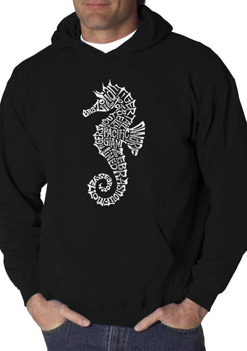 Mens Word Art Hooded Graphic Sweatshirt - Types of Seahorse