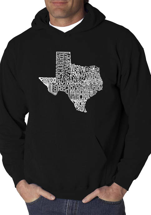 Mens Word Art Hooded Graphic Sweatshirt - The Great State of Texas
