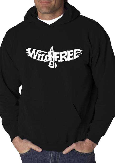 Mens Word Art Hooded Graphic Sweatshirt - Wild and Free Eagle