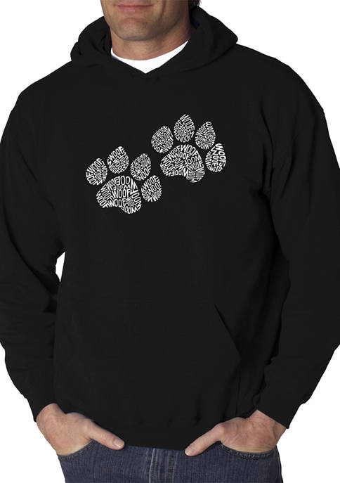 Word Art Hooded Graphic Sweatshirt - Woof Paw Prints