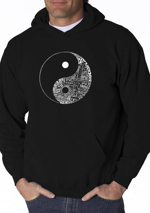 Mens Word Art Hooded Sweatshirt - Yin Yang