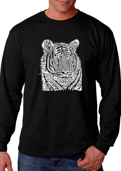 Word Art Long Sleeve Graphic T-Shirt – Big Cats