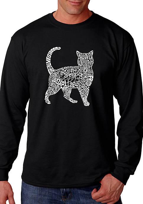 Word Art Long Sleeve Graphic T-Shirt - Cat