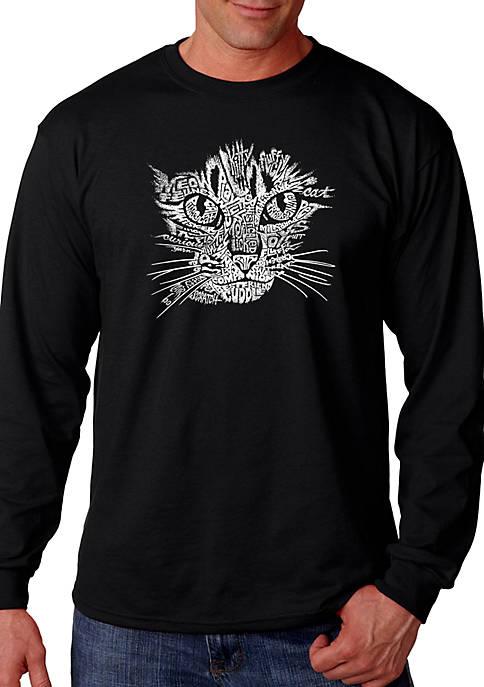 Word Art Long Sleeve Graphic T-Shirt - Cat Face