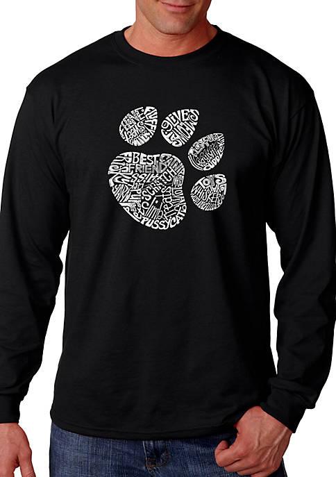 Word Art Long Sleeve Graphic T-Shirt - Cat Paw