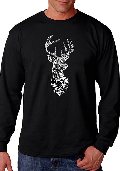 Word Art Long Sleeve Graphic T-Shirt - Types of Deer