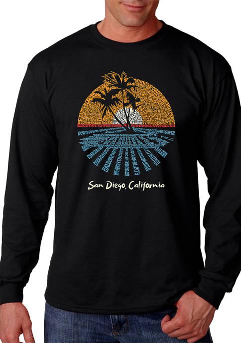 Word Art Long Sleeve T-Shirt - Cities In San Diego