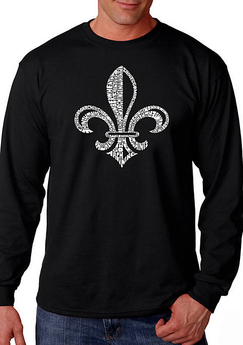 Word Art Long Sleeve Graphic T-Shirt - Lyrics to When The Saints Go Marching In