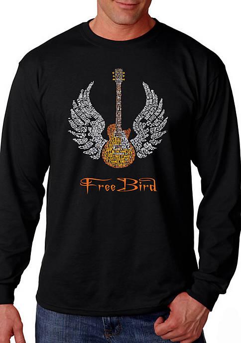 Word Art Long Sleeve T Shirt - Lyrics to Freebird