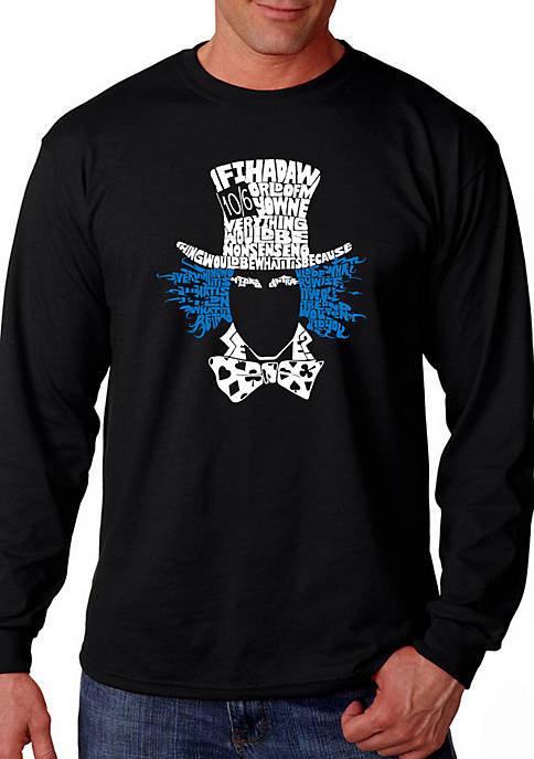 Word Art Long Sleeve T Shirt - The Mad Hatter