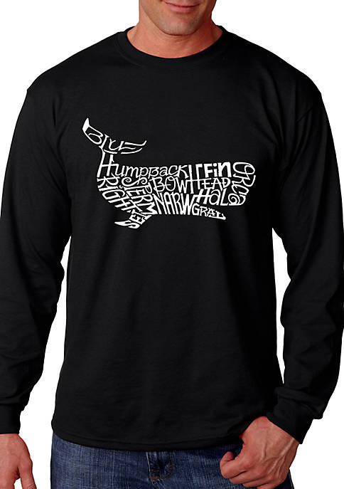 Word Art Long Sleeve Graphic T-Shirt - Humpback Whale