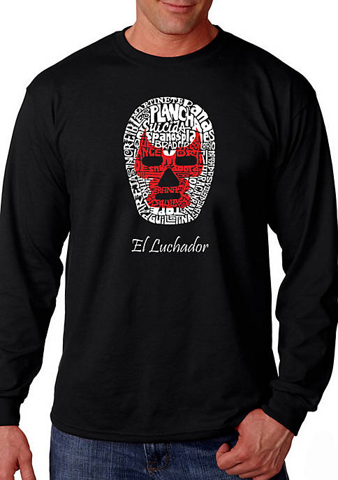 Word Art Long Sleeve T Shirt - Mexican Wrestling Mask