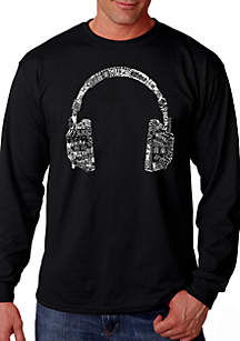 LA Pop Art Word Art Long Sleeve T Shirt - Headphones - Languages
