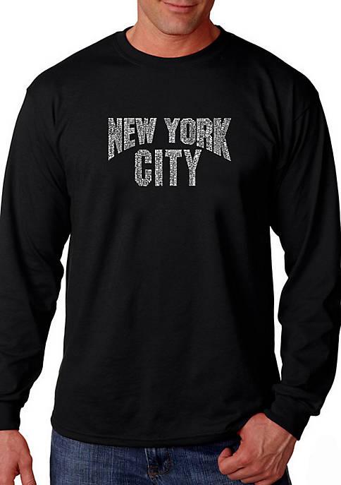 Word Art Long Sleeve T Shirt - NYC Neighborhoods