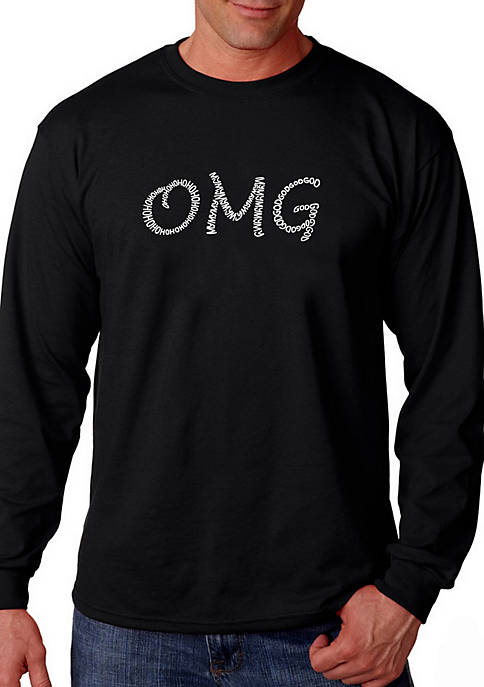 Word Art Long Sleeve Graphic T-Shirt - OMG