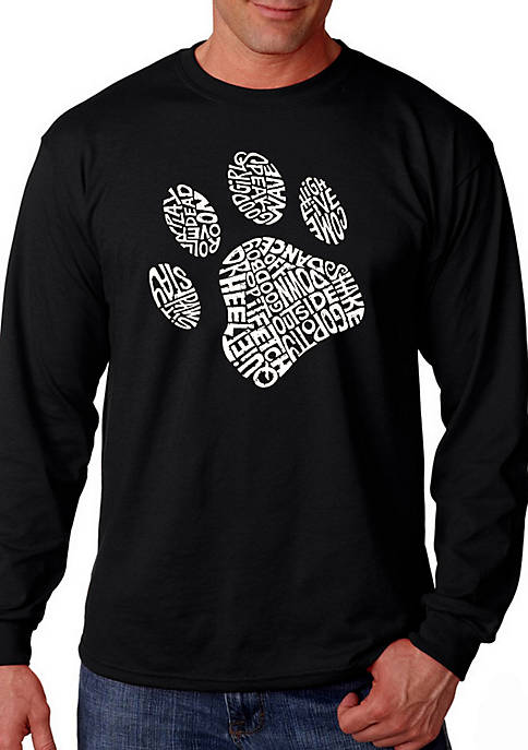 Word Art Long Sleeve Graphic T-Shirt - Dog Paw