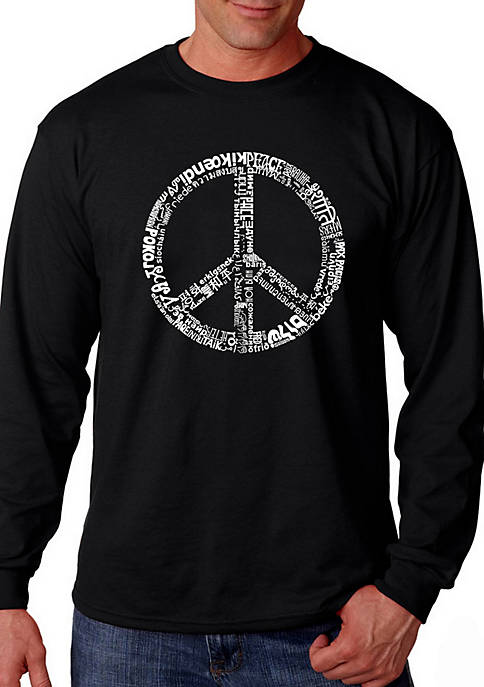 Word Art Long Sleeve Graphic T-Shirt - Peace in 77 Languages