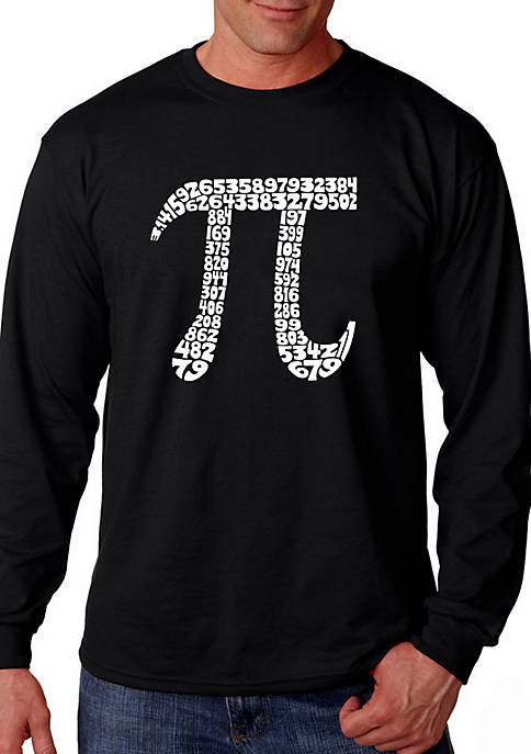 Word Art Long Sleeve T Shirt - The First 100 Digits of Pi