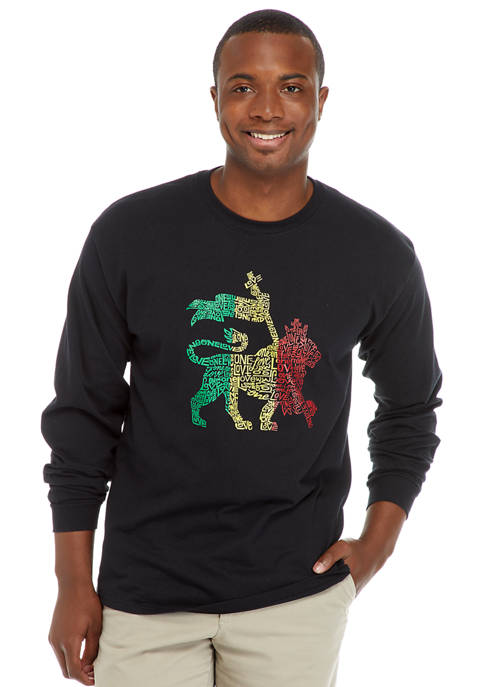 Word Art Long Sleeve Graphic T-Shirt - Rasta Lion One Love