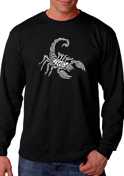 Word Art Long Sleeve Graphic T-Shirt - Types of Scorpions