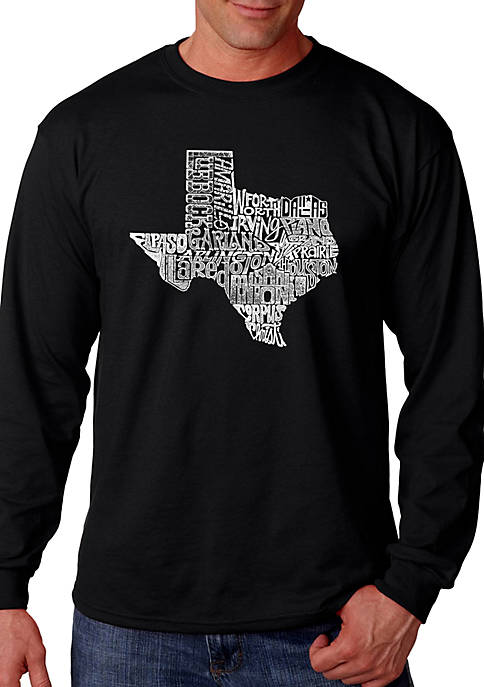 Word Art Long Sleeve Graphic T-Shirt - The Great State of Texas