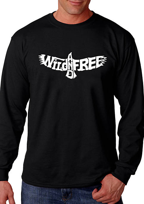 Word Art Long Sleeve Graphic T-Shirt - Wild and Free Eagle