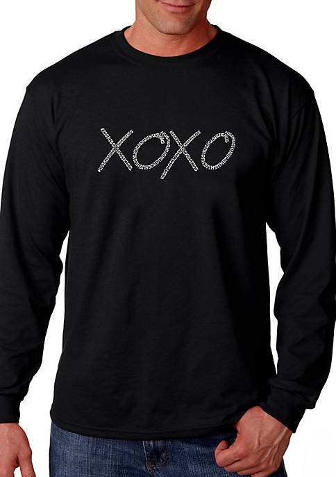 Word Art Long Sleeve Graphic T-Shirt - XOXO