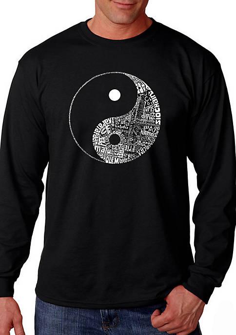 Word Art Long Sleeve Graphic T-Shirt - Yin Yang