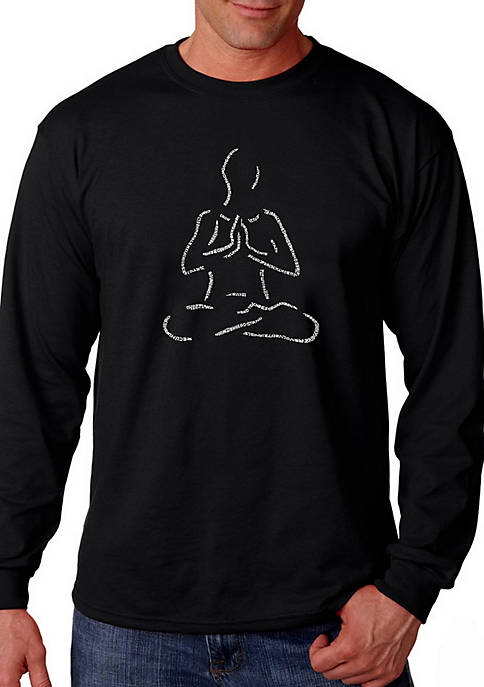 Word Art Long Sleeve Graphic T-Shirt - Popular Yoga Poses