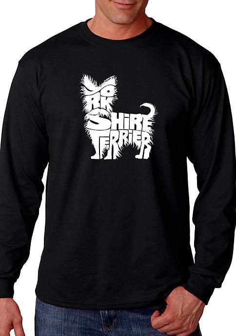 Word Art Long Sleeve Graphic T-Shirt - Yorkie