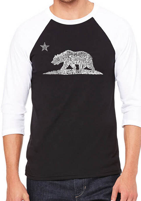 Mens Raglan Baseball Word Art Graphic T-Shirt - California Bear