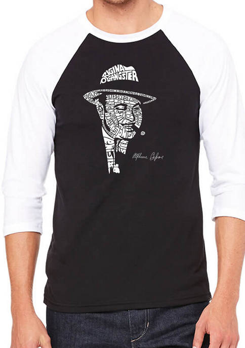 Raglan Baseball Word Art Graphic T-Shirt - Al Capone - Original Gangster