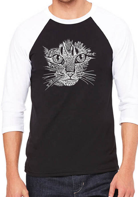 Mens Raglan Baseball Word Art Graphic T-Shirt - Cat Face