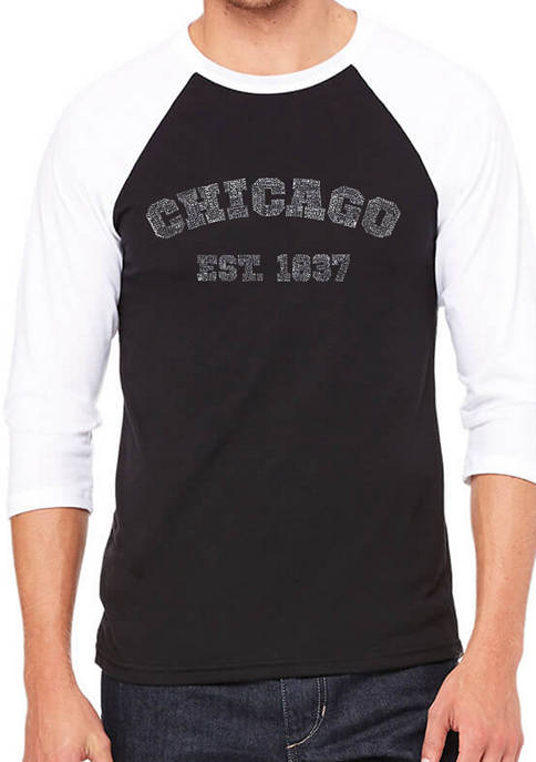 LA Pop Art Mens Raglan Baseball Word Art