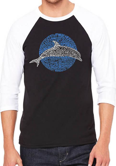 Mens Raglan Baseball Word Art Graphic T-Shirt - Species of Dolphin