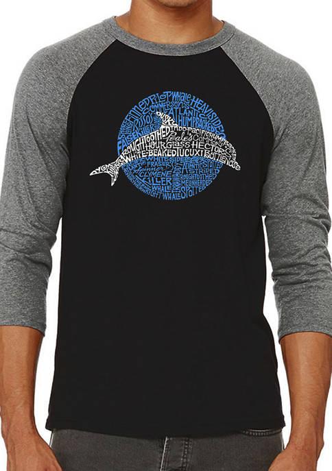 Raglan Baseball Word Art Graphic T-Shirt - Species of Dolphin