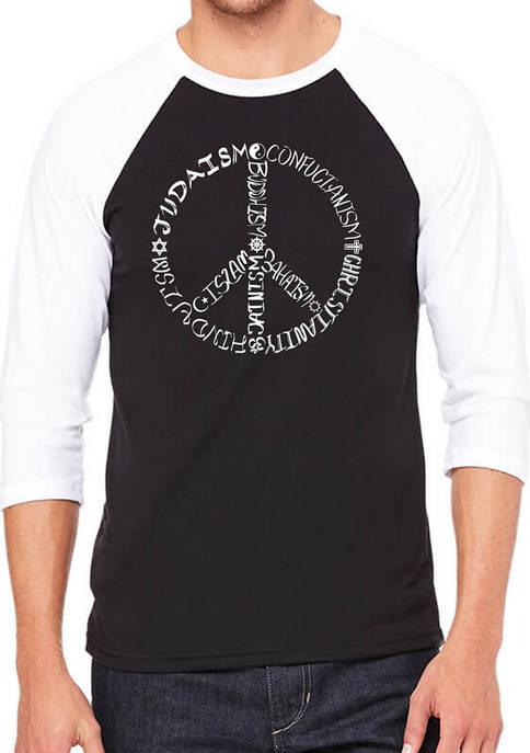 Mens Raglan Baseball Word Art Graphic T-Shirt - Different Faiths Peace Sign