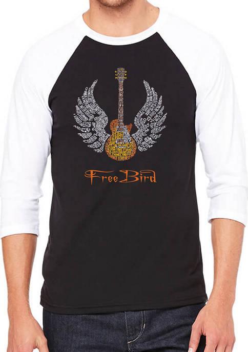 Raglan Baseball Word Art Graphic T-Shirt - Lyrics to Freebird